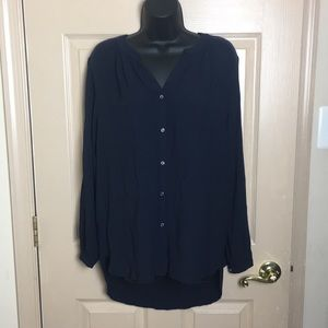 H&M Dark Blue Sheer Blouse